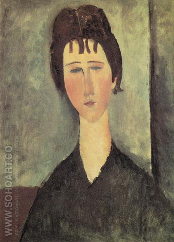 Woman with Blue Eyes 1918 - Amedeo Modigliani reproduction oil painting