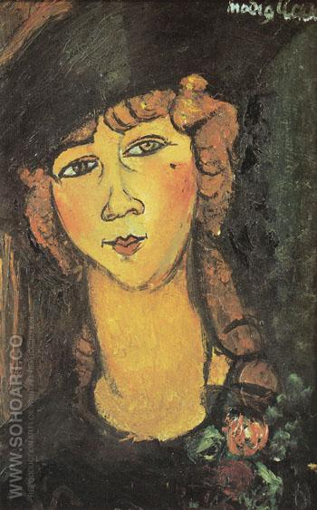 Head of a Woman in a Hat Lolotte c1916 - Amedeo Modigliani reproduction oil painting