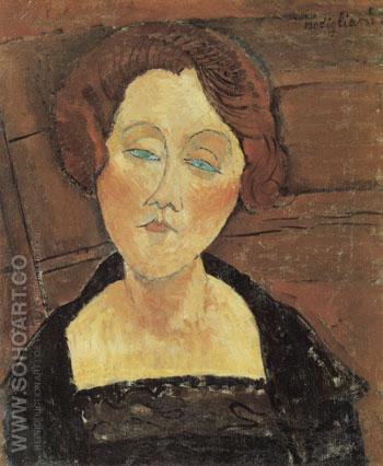 Woman with Red Hair and Blue Eyes 1917 - Amedeo Modigliani reproduction oil painting