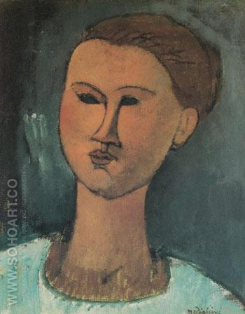 Head of a Woman 1915 - Amedeo Modigliani reproduction oil painting