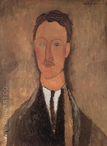 Portrait of Leopold Survage c1917 - Amedeo Modigliani reproduction oil painting