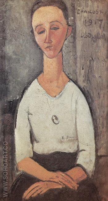 Portrait of Lunia Czechowska 1917 - Amedeo Modigliani reproduction oil painting