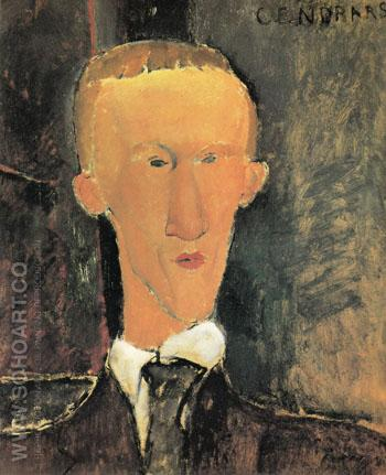Portrait of Blaise Cendrars 1917 - Amedeo Modigliani reproduction oil painting
