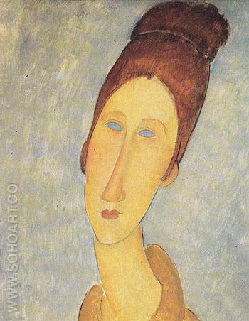 Yellow Sweater Portrait of Mademoiselle Hebuterne c1919 - Amedeo Modigliani reproduction oil painting