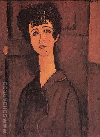 Portrait of a Young Woman Victoria 1916 - Amedeo Modigliani reproduction oil painting
