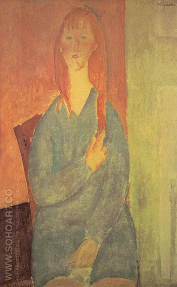Seated Young Woman with Loose Hair 1919 - Amedeo Modigliani reproduction oil painting