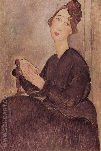 Seated Woman 1918 - Amedeo Modigliani reproduction oil painting