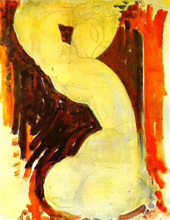 Caryatid c1913 - Amedeo Modigliani reproduction oil painting