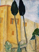 Cypress Trees and House - Amedeo Modigliani reproduction oil painting
