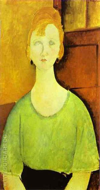 Girl in a Green Blouse 1917 - Amedeo Modigliani reproduction oil painting