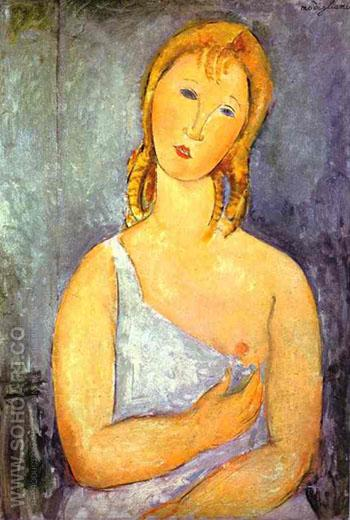 Girl in a White Chemise 1918 - Amedeo Modigliani reproduction oil painting