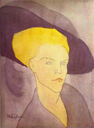 Head of a Woman with a Hat 1907 - Amedeo Modigliani reproduction oil painting