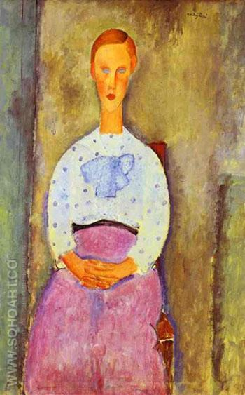 Jeanne fille au Corsage a Pois 1919 - Amedeo Modigliani reproduction oil painting
