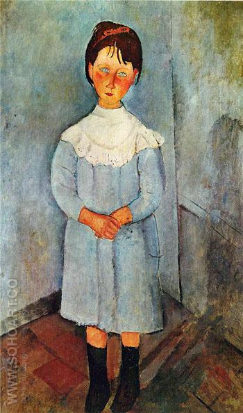 Little Girl in Blue 1918 - Amedeo Modigliani reproduction oil painting