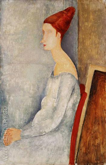 Hbuterne Seated - Amedeo Modigliani reproduction oil painting