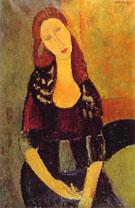 Portrait of Jeanne Hebuterne Common Law Wife of Amedeo Modigliani 1918 - Amedeo Modigliani