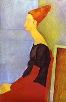 Portrait of Jeanne Hebuterne in Profile 1918 - Amedeo Modigliani reproduction oil painting