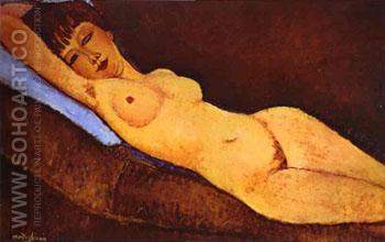 Reclining Nude with Blue Cushion 1917 - Amedeo Modigliani reproduction oil painting
