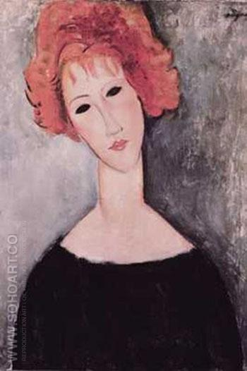 Redhead - Amedeo Modigliani reproduction oil painting