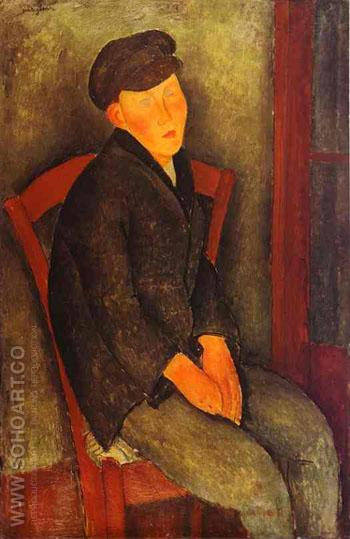 Seated Boy with Cap 1918 - Amedeo Modigliani reproduction oil painting