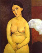 Seated Nude A 1917 - Amedeo Modigliani reproduction oil painting
