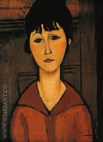 Tete De Jeune Fille - Amedeo Modigliani reproduction oil painting