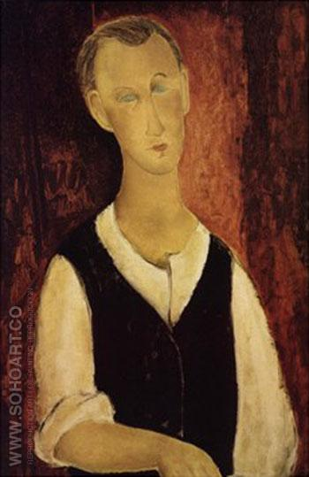 Young Man with a Black Waistcoat 1912 - Amedeo Modigliani reproduction oil painting