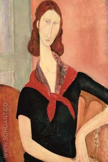 Young Woman with Scarf - Amedeo Modigliani reproduction oil painting