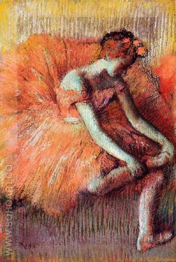 Dancer Adjusting Her Sandel - Edgar Degas reproduction oil painting