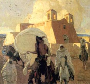 Church at Rancho de Taos 1917 - Ernest L Blumenschein reproduction oil painting