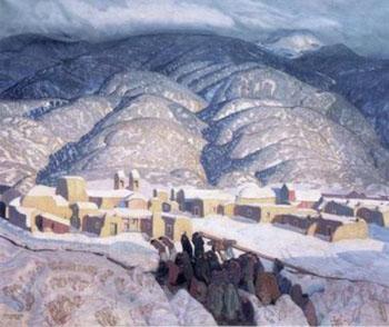 Sangre de Cristo Mountains - Ernest L Blumenschein reproduction oil painting