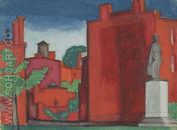 Red Building with Statue c1920 - Oscar Bluemner reproduction oil painting