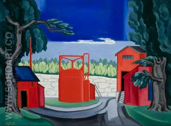 Red Tank West Quincy 1922 - Oscar Bluemner reproduction oil painting