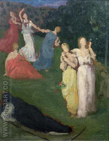 Death and The Maidens - Pierre Puvis de Chavannes reproduction oil painting
