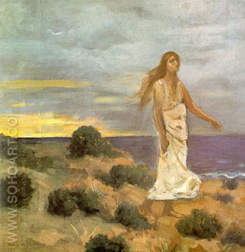 Mad Woman at the Edge of the Sea 1851 - Pierre Puvis de Chavannes reproduction oil painting