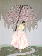Blossom Umbrella - Erte reproduction oil painting