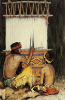 At The Loom - E Irving Couse reproduction oil painting