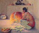 By the Fire c1921 - E Irving Couse reproduction oil painting