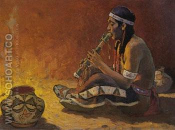 Flute Player 1931 - E Irving Couse reproduction oil painting