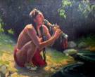 Flute Player B 1930 - E Irving Couse reproduction oil painting