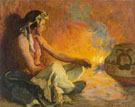 Golden Firelight - E Irving Couse reproduction oil painting