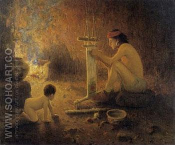 Hopi Weaver - E Irving Couse reproduction oil painting