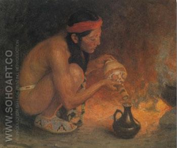 Indian Beside A Camp Fire - E Irving Couse reproduction oil painting