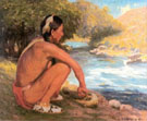 Indian Beside the Mountain Stream 1914 - E Irving Couse reproduction oil painting