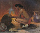 Indian by Firelight - E Irving Couse reproduction oil painting
