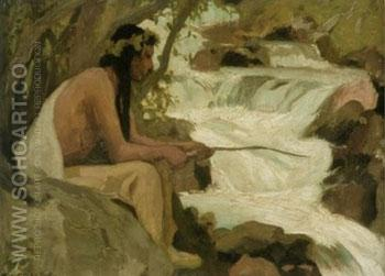 Indian Fishing by A Stream - E Irving Couse reproduction oil painting