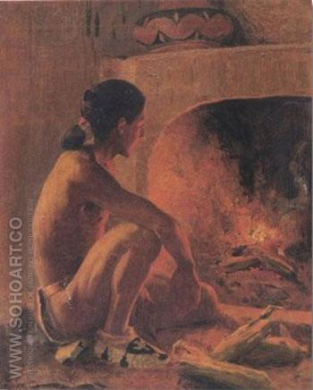 Indian Roasting Corn - E Irving Couse reproduction oil painting