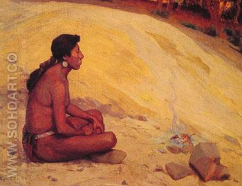 Indian Seated by A Campfire 1898 - E Irving Couse reproduction oil painting