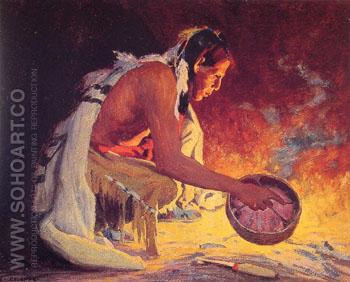 Indian by Firelight B - E Irving Couse reproduction oil painting
