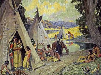 Indian Camp - E Irving Couse reproduction oil painting